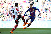 18th March 2018, Camp Nou, Barcelona, Spain; La Liga football, Barcelona versus Athletic Bilbao; Enric Saborit of Athletic Bilbao tries to stop Philippe Coutinho of FC Barcelona