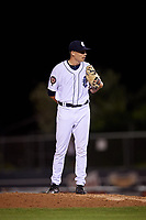 Connecticut Tigers relief pitcher Dylan Stock (55) looks in for the sign during a game against the Hudson Valley Renegades on August 20, 2018 at Dodd Stadium in Norwich, Connecticut.  Hudson Valley defeated Connecticut 3-1.  (Mike Janes/Four Seam Images)