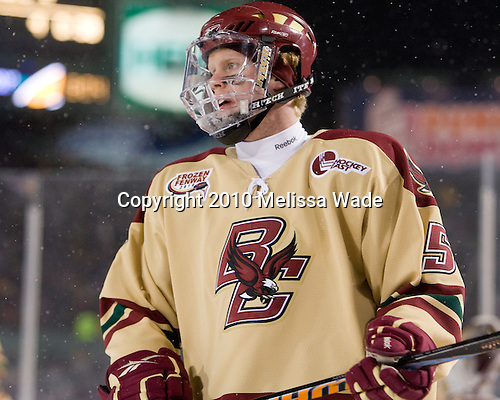 Philip Samuelsson (BC - 5) - The Boston University Terriers defeated the Boston College Eagles 3-2 on Friday, January 8, 2010, at Fenway Park in Boston, Massachusetts, as part of the Sun Life Frozen Fenway doubleheader.