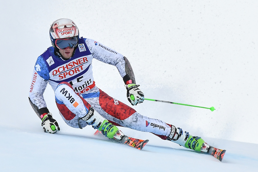 February 17, 2017: Justin MURISIER (SUI) competing in the men's giant slalom event at the FIS Alpine World Ski Championships at St Moritz, Switzerland. Photo Sydney Low