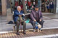 Mild Spanish winters allow pensioners to meet up for a chat. Estepona, Malaga, Spain, 201902080360<br />