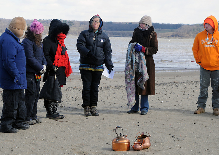 A view of some of the participants at a Association of Native American of the Hudson Valley, sponsored Native American Water Blessing Ceremony held for the Hudson River at Kingston Point Beach in Kingston, NY, on Saturday, March 4, 2017. Photo by Jim Peppler; Copyright Jim Peppler 2017