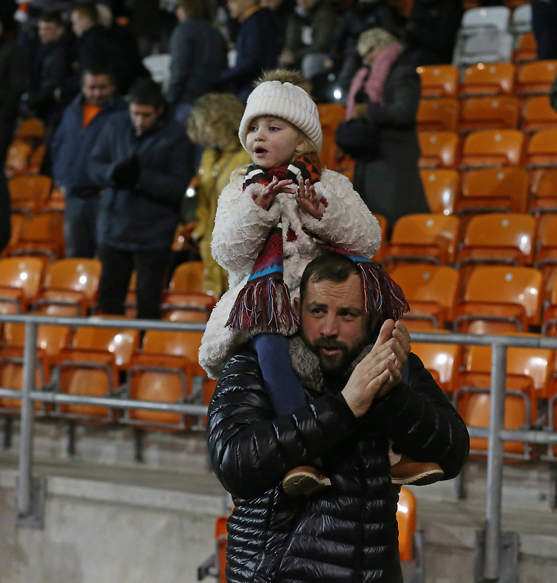 A young Blackpool fan leaves after the match<br /> <br /> Photographer Stephen White/CameraSport<br /> <br /> Emirates FA Cup Third Round - Blackpool v Arsenal - Saturday 5th January 2019 - Bloomfield Road - Blackpool<br />  <br /> World Copyright © 2019 CameraSport. All rights reserved. 43 Linden Ave. Countesthorpe. Leicester. England. LE8 5PG - Tel: +44 (0) 116 277 4147 - admin@camerasport.com - www.camerasport.com
