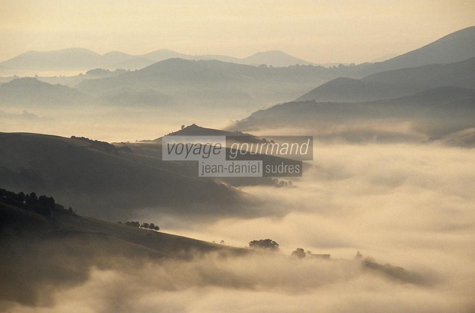 Europe/France/Aquitaine/64/Pyrénées-Atlantiques/Pic de l'Artzamendi: Vue sur les Pyrénées depuis le Pic