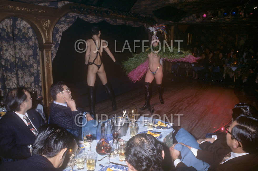 October, 1980. Tokyo, Japan. Typical nightlife and burlesque performace in Tokyo.