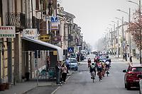 the peloton passing through town<br /> <br /> 98th Milano - Torino 2017 (ITA) 186km