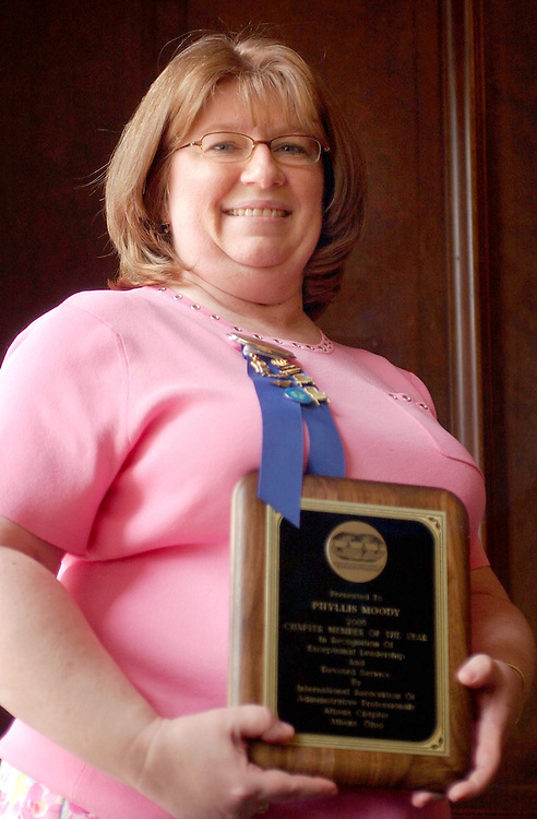 4/28/05--Ms. Phyllis Moody was named chapter member of the year ny the International Association of Administrative Professionals.