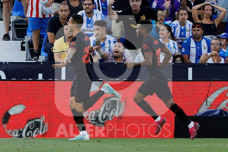 Atletico de Madrid's Victor Machin 'Vitolo' celebrates goal during La Liga match between CD Leganes and Atletico de Madrid at Butarque Stadium in Madrid, Spain. August 25, 2019. (ALTERPHOTOS/A. Perez Meca)