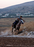 Palestinian jockeys train their horses during a race in the West Bank city of Nablus on July 4, 2010. Hundreds of Palestinians from all over the West Bank gathered to follow the horse race on next Friday in the northern West Bank city. Photo by Wagdi Eshtayah