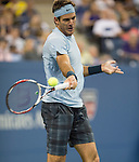 Juan Martin Del Potro battles Lleyton Hewitt (AUS) at the US Open being played at USTA Billie Jean King National Tennis Center in Flushing, NY on August 30, 2013