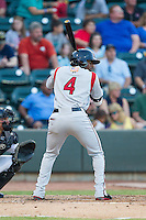LeVon Washington (4) of the Carolina Mudcats at bat against the Winston-Salem Dash at BB&T Ballpark on June 6, 2014 in Winston-Salem, North Carolina.  The Mudcats defeated the Dash 3-1.  (Brian Westerholt/Four Seam Images)