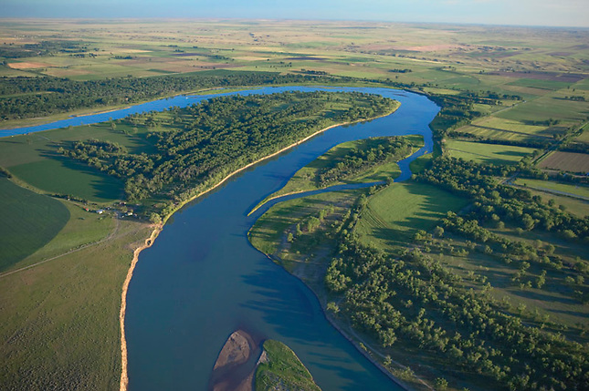 Missouri River winding along the flat lands of Montana