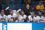 March 25,  2011            Boston College players on the bench watch as the clock winds down in their semifinal game against Colorado College. The Colorado College Tigers defeated the Boston College Eagles 8-4 in the second semifinal of the NCAA Division 1 Men's West Regional Hockey Tournament, on Friday March 25, 2011 at the Scottrade Center in downtown St. Louis.