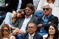 L'allenatore Marcello Lippi, a destra, con i figli Davide e Stefania siede in tribuna al Campo Centrale del Foro Italico durante gli Internazionali d'Italia di tennis a Roma, 16 maggio 2015. <br /> Italian football coach Marcello Lippi, right, sits with his son Davide, center, and his daughter Stefania, on the stand of the Central Court during the Italian Open tennis tournament in Rome, 15 May 2015.<br /> UPDATE IMAGES PRESS/Riccardo De Luca
