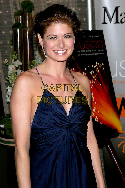 DEBRA MESSING.Women In Film presents Fusion, The 2005 Crystal and Lucy Awards An Evening Celebrating Partnership held at the Beverly Hilton, Beverly Hills, CA, USA, .10th June 2005..half length navy blue dress drop dangly earrings straps crystal diamante .Ref: ADM.www.capitalpictures.com.sales@capitalpictures.com.©Jacqui Wong/AdMedia/Capital Pictures.