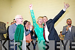 Toireasa Ferris and Pa Daly celebrate with their supporters at the local elections at John Mitchels on Saturday.