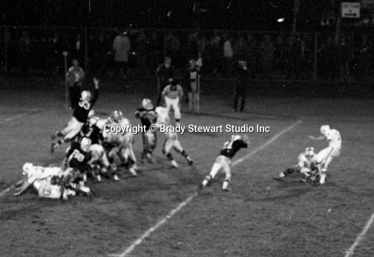 Bethel Park PA:  First field goal attemped the entire year.  Mike Stewart suffered a serious knee injury right before halftime when an idiot on Upper St Clair, Lynn Carson, purposely jumped on his leg when he was holding for a field goal.  The good news, the 38 yard field goal by Tom Skladany was successful and it was the beginning of Tom's very successful high school, college and pro career. The Bethel Park offense and defense played very well in the 16-0 shut out of the Upper St Clair Panters.  The defensive unit was one of the best in Bethel Park history only allowing a little over 7 points a game.