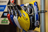 The helmet's of MATEJ ZAGAR (Slovenia) ahead of the 2016 Adrian Flux British FIM Speedway Grand Prix at Principality Stadium, Cardiff, Wales  on 9 July 2016. Photo by David Horn.