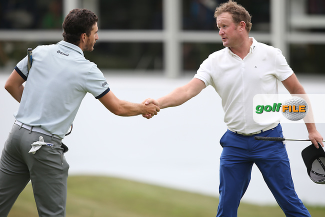 Alejandro Canizares (ESP) and Jamie Donaldson (WAL) raise their games during Round Three of the 2015 BMW PGA Championship over the West Course at Wentworth, Virginia Water, London. 23/05/2015. Picture David Lloyd | www.golffile.ie.