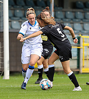 Brugge's Celien Guns (L) and Aalst's Tiffanie Vanderdonckt (5) (R) in action during a female soccer game between Eendracht Aalst and Dames Club Brugge YLA on the first matchday of the 2020 - 2021 season of Belgian Women's SuperLeague , friday 28 of August 2020  in Aalst , Belgium . PHOTO SPORTPIX.BE | SPP | SEVIL OKTEM