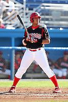 Batavia Muckdogs infielder Jonathan Rodriguez (28) during the first game of a double header vs. the Connecticut Tigers at Dwyer Stadium in Batavia, New York July 10, 2010.   Batavia defeated Connecticut 5-3.  Photo By Mike Janes/Four Seam Images