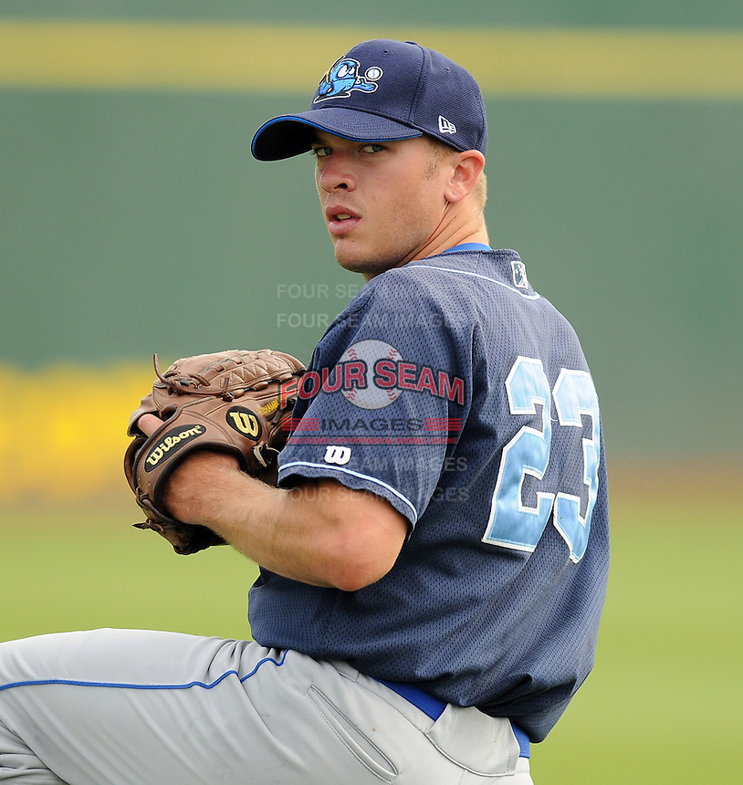 July 7, 2008: RHP Tyler Chambliss (23) of the Wilmington Blue Rocks, Class A affiliate of the Kansas City Royals, in a game against the Myrtle Beach Pelicans at BB&T Coastal Field in Myrtle Beach, S.C. Photo by:  Tom Priddy/Four Seam Image