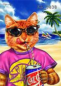 Interlitho, Lorenzo, CUTE ANIMALS, paintings, cat, cola, beach(KL3838,#AC#) illustrations, pinturas ,everyday