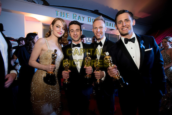 Emma Stone, Justin Hurwitz, Justin Paul, and Benji Pasek arrive at the Governor's Ball after The 89th Oscars&reg; at the Dolby&reg; Theatre in Hollywood, CA on Sunday, February 26, 2017.<br /> *Editorial Use Only*<br /> CAP/PLF/AMPAS<br /> Supplied by Capital Pictures