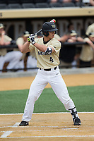 Stuart Fairchild (4) of the Wake Forest Demon Deacons at bat against the Georgia Tech Yellow Jackets at David F. Couch Ballpark on March 26, 2017 in  Winston-Salem, North Carolina.  The Demon Deacons defeated the Yellow Jackets 8-4.  (Brian Westerholt/Four Seam Images)