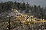 August 22, 2001 Coulterville, California  -- Creek Fire – View of Jackass Ridge. The Creek Fire burned 11,500 acres between Highway 49 and Priest-Coulterville Road a few miles north of Coulterville, California.