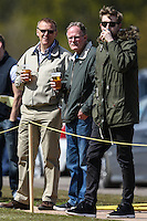 Former Premier League referee, Graham Poll (left), enjoys a pint of larger while watching the Bedfordshire County Football League match between Ampthill Town U18 and Renhold United Reserves at Shefford Sports Club, Shefford, England on 30 April 2016. Photo by David HornPRiME Media Images.