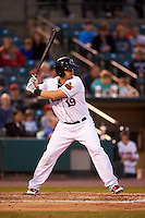 Rochester Red Wings first baseman Brock Peterson (19) at bat during a game against the Lehigh Valley IronPigs on May 15, 2015 at Frontier Field in Rochester, New York.  Rochester defeated Lehigh Valley 5-4.  (Mike Janes/Four Seam Images)