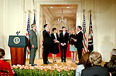 Washington, D.C. - February 1, 2006 -- Judge Samuel A. Alito is sworn-in as Associate Justice of the United States Supreme Court by Chief Justice John Roberts in Washington, D.C. on February 1, 2006 during a ceremony in the East Room of the White House hosted by United States President George W. Bush.  From left to right: President Bush, Samuel Alito, wife, Martha-Ann Alito, son Phil Alito, daughter Laura Alito, and Chief Justice Roberts. .Credit: Ron Sachs / CNP