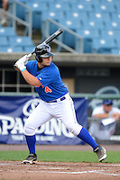 Cathcer Handsome Monica (4) of St. Paul's High School in Mandeville, Louisiana playing for the New York Mets scout team during the East Coast Pro Showcase on July 31, 2013 at NBT Bank Stadium in Syracuse, New York.  (Mike Janes/Four Seam Images)