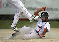 NZ's Jerome Haretuku makes second base during the Challenge Cup TAB international men's softball match between the NZ Black Sox and Australia Steelers at the AWF Sports Stadium in Albany, New Zealand on Saturday, 11 February 2017. Photo: Dave Lintott / lintottphoto.co.nz