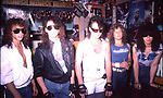 Queensryche instore at Agents of Fortune, Massapequa Park, NY. Scott Rockenfield, Chris Degarmo, Geoff Tate, Michael Wilton, Eddie Jackson 1985
