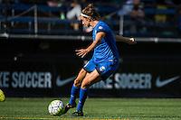Seattle, Washington - Sunday, June 12, 2016: Seattle Reign FC midfielder Havana Solaun (19) takes a shot on goal during a regular season National Women's Soccer League (NWSL) match at Memorial Stadium. Seattle won 1-0.