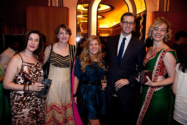 "21 November 2012: Australian Jacinta Thompson, Avryl Lattin, Nicole Parker, Chris King and Kate Ben-Tovim arrive to felicitate Indian cinema legend Amitabh Bachchan at the premiere of ""Fearless Nadia"" , a feature film celebrating the exploits of Perth born Mary Ann Evans who gained fame as a film star heroine in India in 1920's Bombay as Fearless Nadia; an Indian film actress and stuntwoman, who is remembered as the masked, cloaked adventuress in Hunterwali, an early female lead. The film is scored by a big band led by Ben Walsh in front of a live audience. Pictures  by Graham Crouch/OzFest."