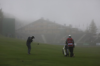Fabrizio Zanotti (PAR) plays his 2nd shot in the mist on the 18th hole during Sunday's fog delayed Round 3 of the 2017 Omega European Masters held at Golf Club Crans-Sur-Sierre, Crans Montana, Switzerland. 10th September 2017.<br /> Picture: Eoin Clarke | Golffile<br /> <br /> <br /> All photos usage must carry mandatory copyright credit (&copy; Golffile | Eoin Clarke)