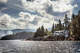 USA, Alaska, Ketchikan, a beautiful home nestled among the rocks in the Behm Canal near Clarence Straight, Knudsen Cove along the Tongass Narrows