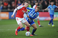 Fleetwood Town's Paul Coutts under pressure from Blackpool's Kiernan Dewsbury-Hall<br /> <br /> Photographer Kevin Barnes/CameraSport<br /> <br /> The EFL Sky Bet League One - Fleetwood Town v Blackpool - Saturday 7th March 2020 - Highbury Stadium - Fleetwood<br /> <br /> World Copyright © 2020 CameraSport. All rights reserved. 43 Linden Ave. Countesthorpe. Leicester. England. LE8 5PG - Tel: +44 (0) 116 277 4147 - admin@camerasport.com - www.camerasport.com