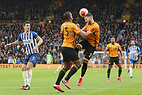 Matt Doherty of Wolverhampton Wanderers heads away as Willy Boly of Wolverhampton Wanderers looks on during Wolverhampton Wanderers vs Brighton & Hove Albion, Premier League Football at Molineux on 7th March 2020
