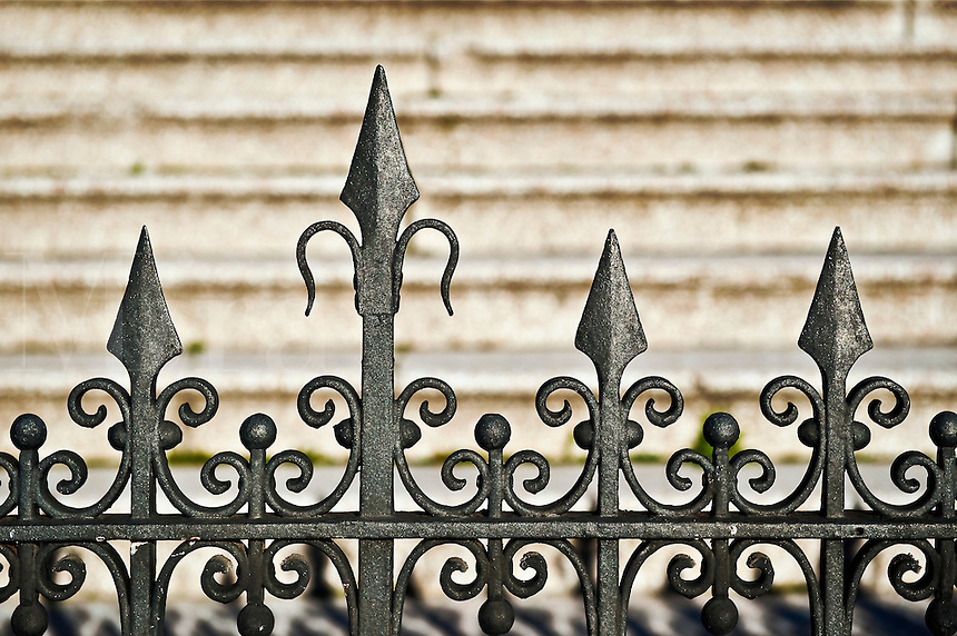 Ornate iron gate detail.