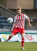 Fraser Franks of Stevenage in action during the Sky Bet League 2 match between Wycombe Wanderers and Stevenage at Adams Park, High Wycombe, England on 12 March 2016. Photo by Andy Rowland/PRiME Media Images.