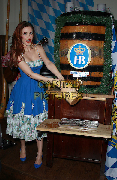 LAS VEGAS, USA, OCTOBER 17: Holly Madison taps the ceremonial Oktoberfest keg at Hofbrauhaus, Las Vegas, NV, USA. <br />  CAP/ADM/MJT<br /> &copy; MJT/AdMedia/Capital Pictures
