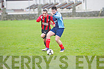 St Brendan's Park's Con Hewson and Castlemaine United's Gary Long...