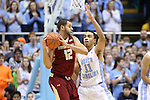18 January 2014: Boston College's Ryan Anderson (12) and North Carolina's Brice Johnson (11). The University of North Carolina Tar Heels played the Boston College Eagles in an NCAA Division I Men's basketball game at the Dean E. Smith Center in Chapel Hill, North Carolina. UNC won the game 82-71.