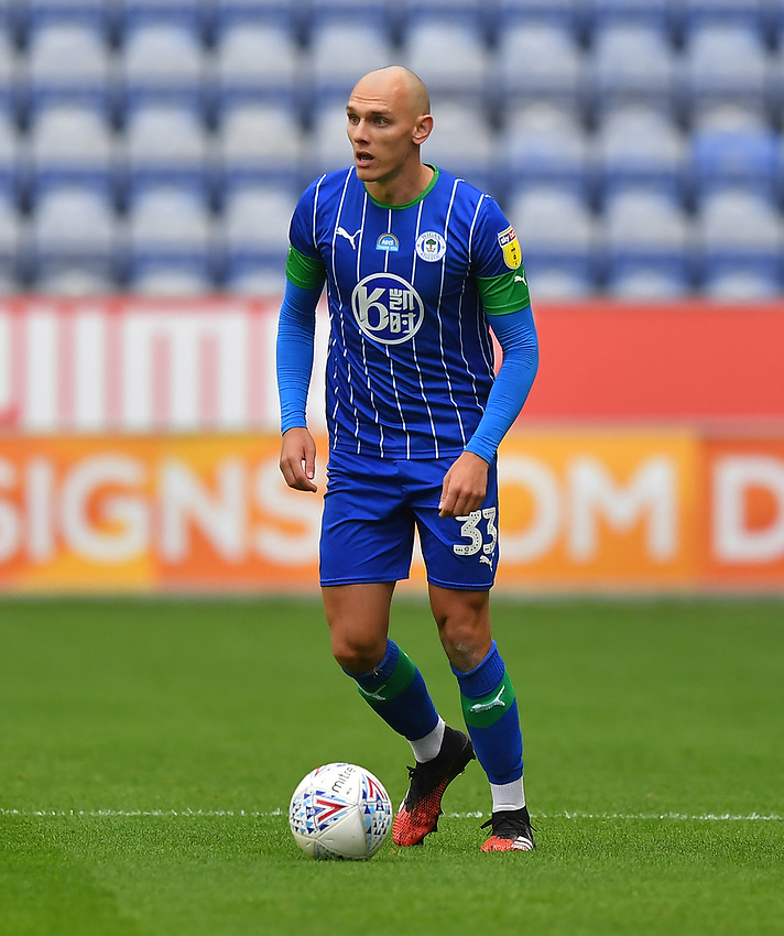 Wigan Athletic's Kal Naismith<br /> <br /> Photographer Dave Howarth/CameraSport<br /> <br /> The EFL Sky Bet Championship - Wigan Athletic v Fulham - Wednesday July 22nd 2020 - DW Stadium - Wigan<br /> <br /> World Copyright © 2020 CameraSport. All rights reserved. 43 Linden Ave. Countesthorpe. Leicester. England. LE8 5PG - Tel: +44 (0) 116 277 4147 - admin@camerasport.com - www.camerasport.com