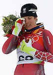 2/15/06 -- The 2006 Torino Winter Olympics -- San Sicario , Italy. -- Alpine skiing -  Women's downhill For Gannett: Julia Mancuso -- ..Austrian Skier Michaela Dorfmeister sheds a tear during the medal ceremony after taking first place in the women's downhill event in San Sicario Fraiteve, Italy..Photo by Scott Sady, USA TODAY staff.
