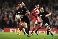 Malakai Fekitoa of New Zealand runs in a try during Match 23 of the Rugby World Cup 2015 between New Zealand and Georgia - 02/10/2015 - Millennium Stadium, Cardiff<br /> Mandatory Credit: Rob Munro/Stewart Communications